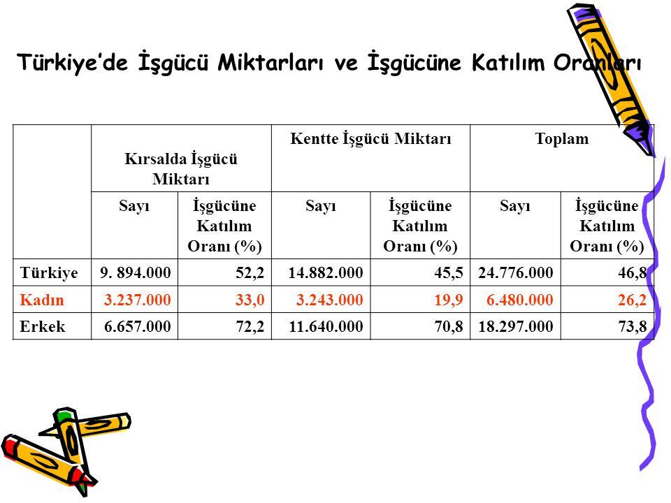Türkiye'de İşgücü Miktarları ve İşgücüne Katılım Oranları Kırsalda İşgücü Miktarı Kentte İşgücü MiktarıToplam Sayıİşgücüne Katılım Oranı (%) Sayıİşgüc