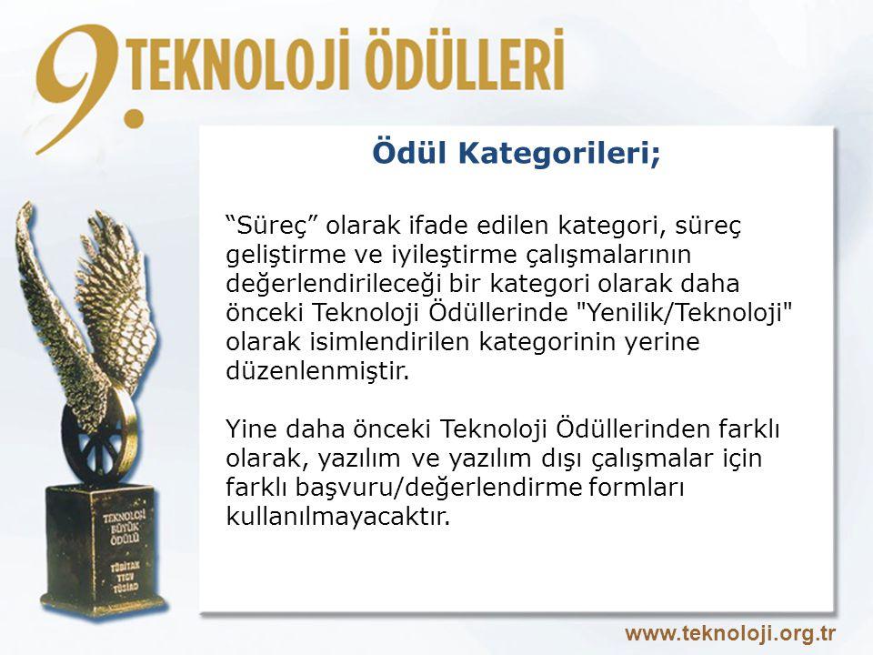 Ödül Kategorileri; Süreç olarak ifade edilen kategori, süreç geliştirme ve iyileştirme çalışmalarının değerlendirileceği bir kategori olarak daha önceki Teknoloji Ödüllerinde Yenilik/Teknoloji olarak isimlendirilen kategorinin yerine düzenlenmiştir.