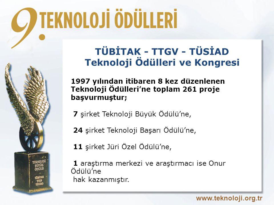 TÜBİTAK - TTGV - TÜSİAD Teknoloji Ödülleri ve Kongresi 1997 yılından itibaren 8 kez düzenlenen Teknoloji Ödülleri'ne toplam 261 proje başvurmuştur; 7 şirket Teknoloji Büyük Ödülü'ne, 24 şirket Teknoloji Başarı Ödülü'ne, 11 şirket Jüri Özel Ödülü'ne, 1 araştırma merkezi ve araştırmacı ise Onur Ödülü'ne hak kazanmıştır.