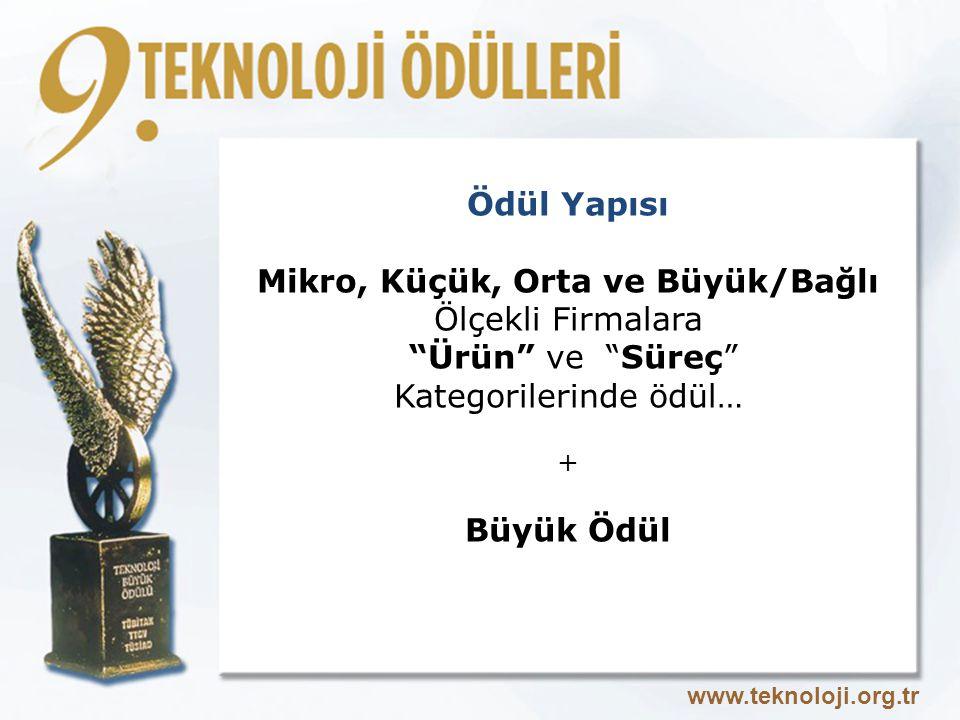 Ödül Yapısı Mikro, Küçük, Orta ve Büyük/Bağlı Ölçekli Firmalara Ürün ve Süreç Kategorilerinde ödül… + Büyük Ödül www.teknoloji.org.tr