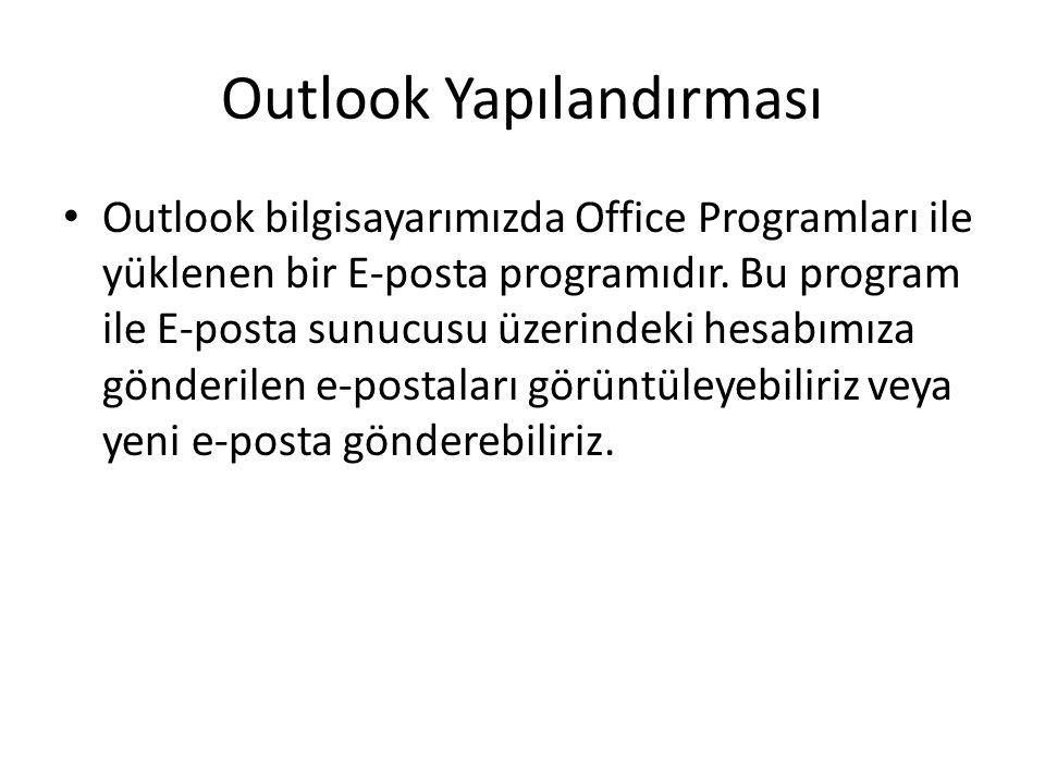 Outlook Yapılandırması Outlook bilgisayarımızda Office Programları ile yüklenen bir E-posta programıdır.