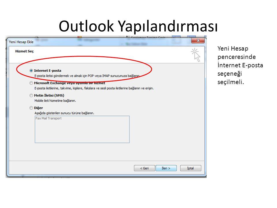 Outlook Yapılandırması Yeni Hesap penceresinde İnternet E-posta seçeneği seçilmeli.