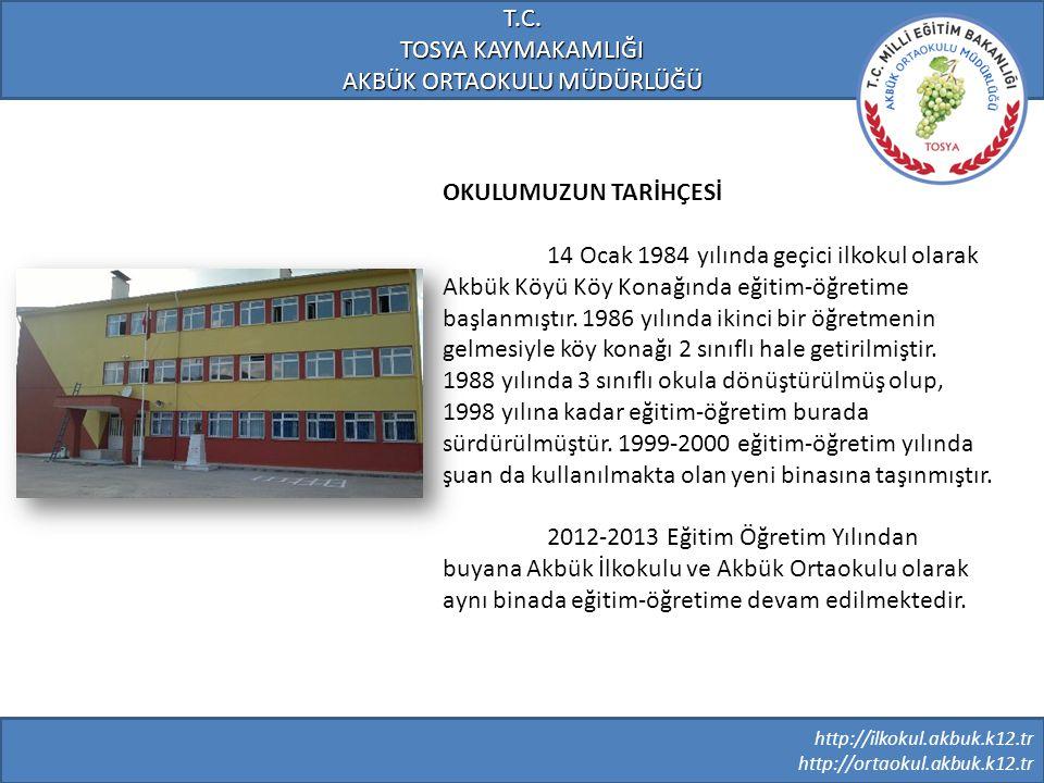 http://ilkokul.akbuk.k12.tr http://ortaokul.akbuk.k12.tr T.C. TOSYA KAYMAKAMLIĞI AKBÜK ORTAOKULU MÜDÜRLÜĞÜ OKULUMUZUN TARİHÇESİ 14 Ocak 1984 yılında g