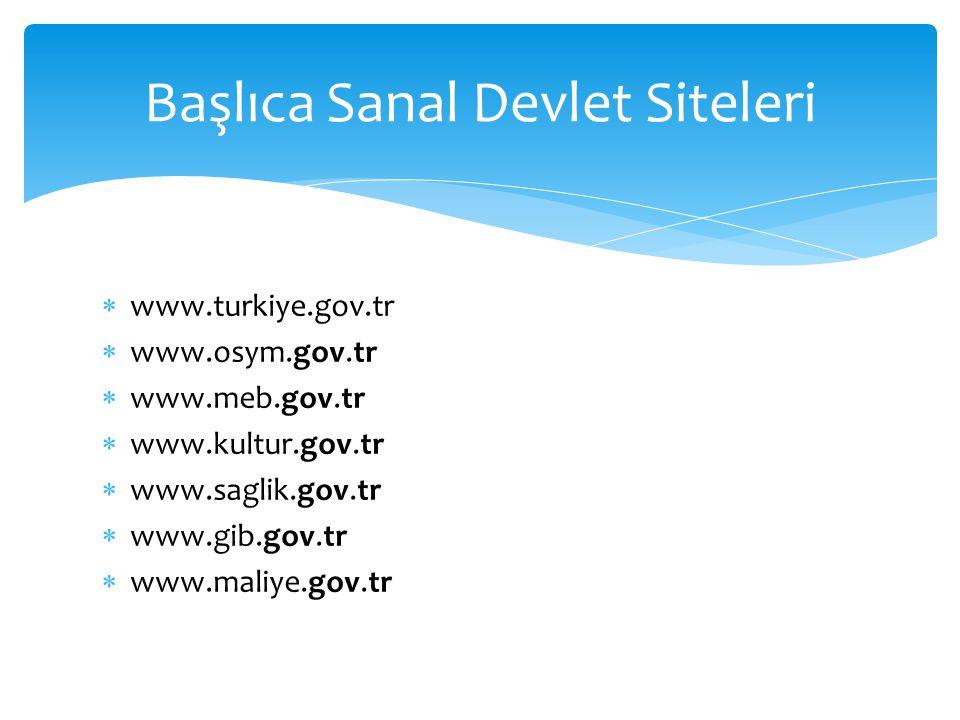  www.turkiye.gov.tr  www.osym.gov.tr  www.meb.gov.tr  www.kultur.gov.tr  www.saglik.gov.tr  www.gib.gov.tr  www.maliye.gov.tr Başlıca Sanal Dev