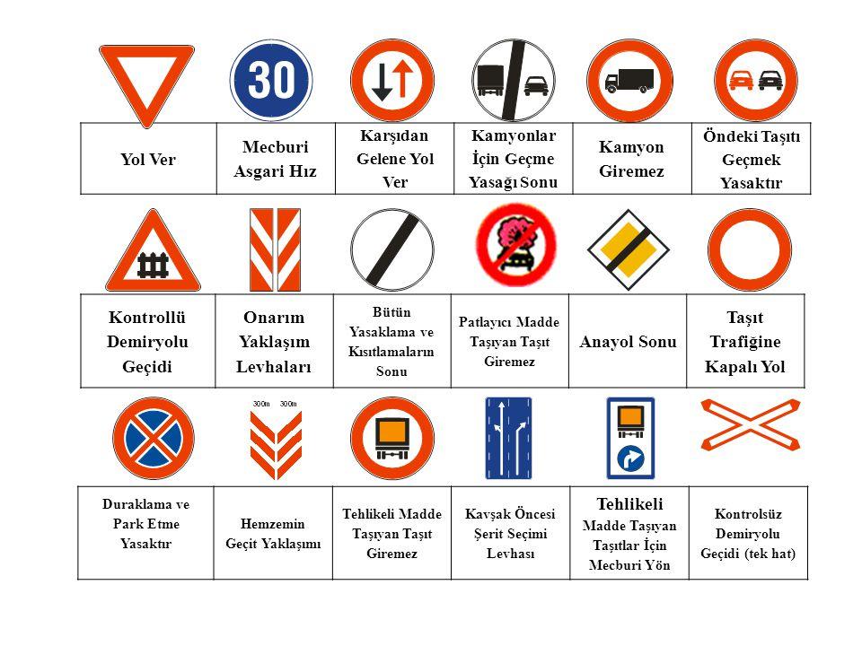 Yol Ver Mecburi Asgari Hız Karşıdan Gelene Yol Ver Kamyonlar İçin Geçme Yasağı Sonu Kamyon Giremez Öndeki Taşıtı Geçmek Yasaktır Kontrollü Demiryolu G