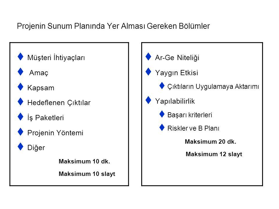 Projenin Sunum Planında Yer Alması Gereken Bölümler  Ar-Ge Niteliği  Yaygın Etkisi  Çıktıların Uygulamaya Aktarımı  Yapılabilirlik  Başarı kriterleri  Riskler ve B Planı Maksimum 20 dk.