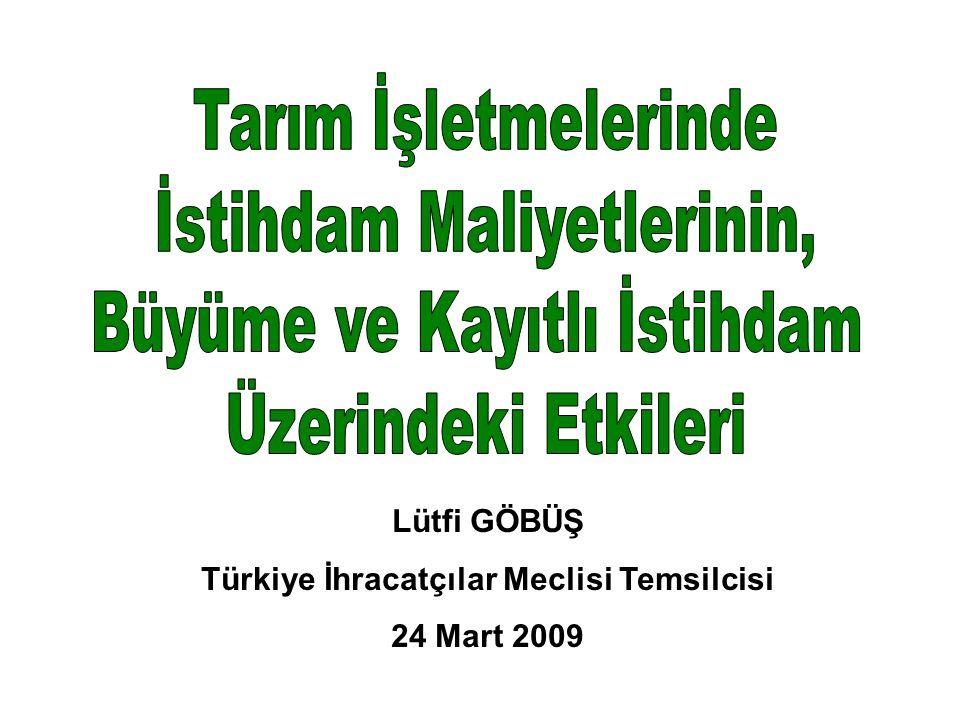 Lütfi GÖBÜŞ Türkiye İhracatçılar Meclisi Temsilcisi 24 Mart 2009