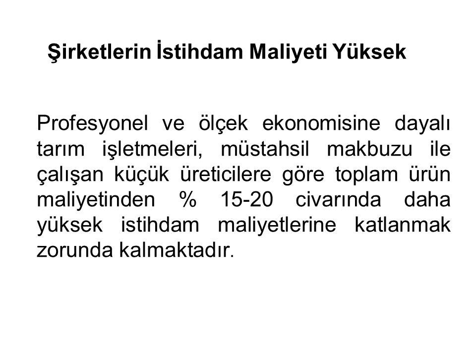 Değişik Tarımsal Ürünlerde Maliyet Analizi Kaynak : Antalya Tarım İl Müdürlüğü