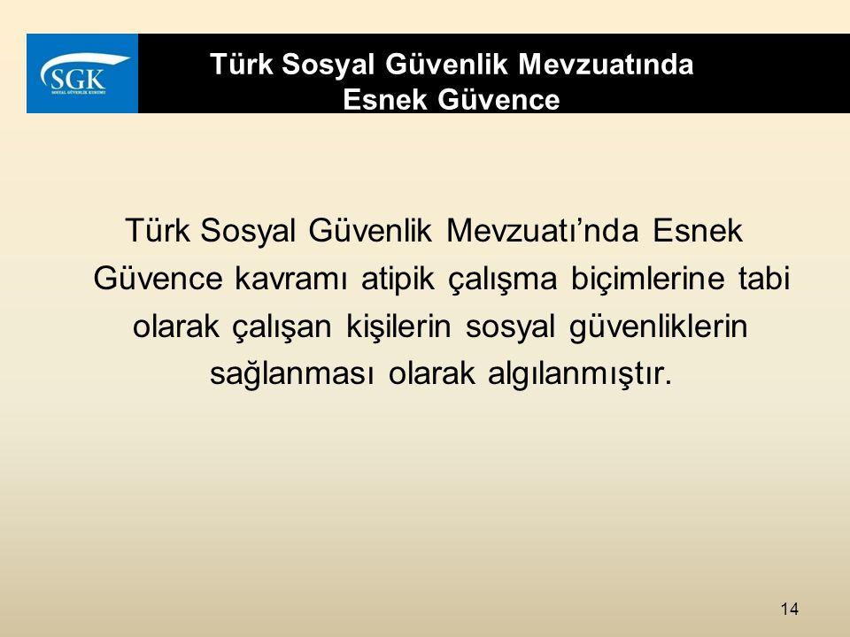 Türk Sosyal Güvenlik Mevzuatında Esnek Güvence Türk Sosyal Güvenlik Mevzuatı'nda Esnek Güvence kavramı atipik çalışma biçimlerine tabi olarak çalışan kişilerin sosyal güvenliklerin sağlanması olarak algılanmıştır.