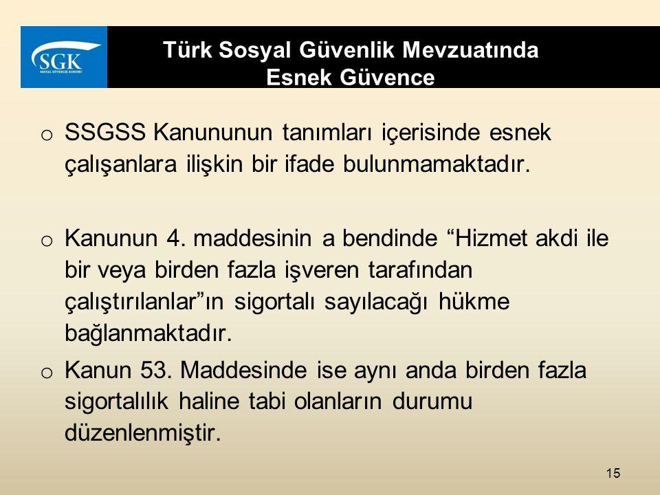 Türk Sosyal Güvenlik Mevzuatında Esnek Güvence o SSGSS Kanununun tanımları içerisinde esnek çalışanlara ilişkin bir ifade bulunmamaktadır.