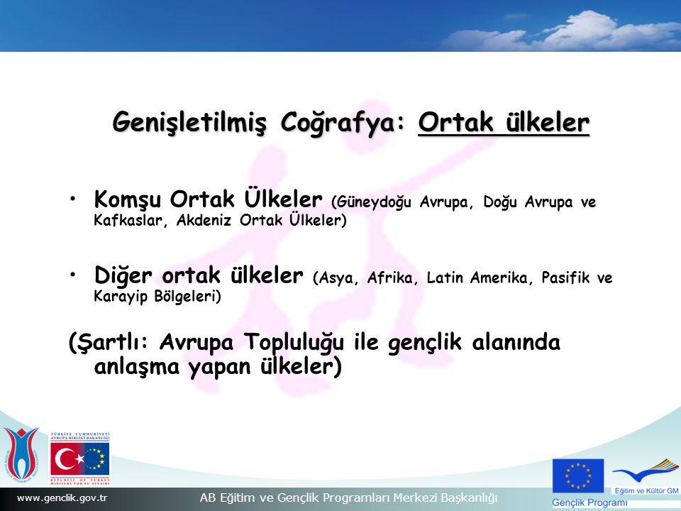 www.genclik.gov.tr AB Eğitim ve Gençlik Programları Merkezi Başkanlığı Genişletilmiş Coğrafya: Ortak ülkeler Komşu Ortak Ülkeler (Güneydoğu Avrupa, Do