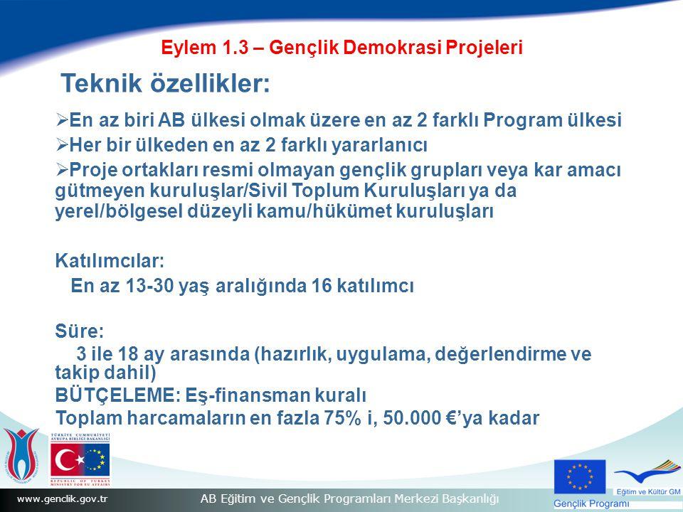 www.genclik.gov.tr AB Eğitim ve Gençlik Programları Merkezi Başkanlığı Eylem 1.3 – Gençlik Demokrasi Projeleri Teknik özellikler:  En az biri AB ülke