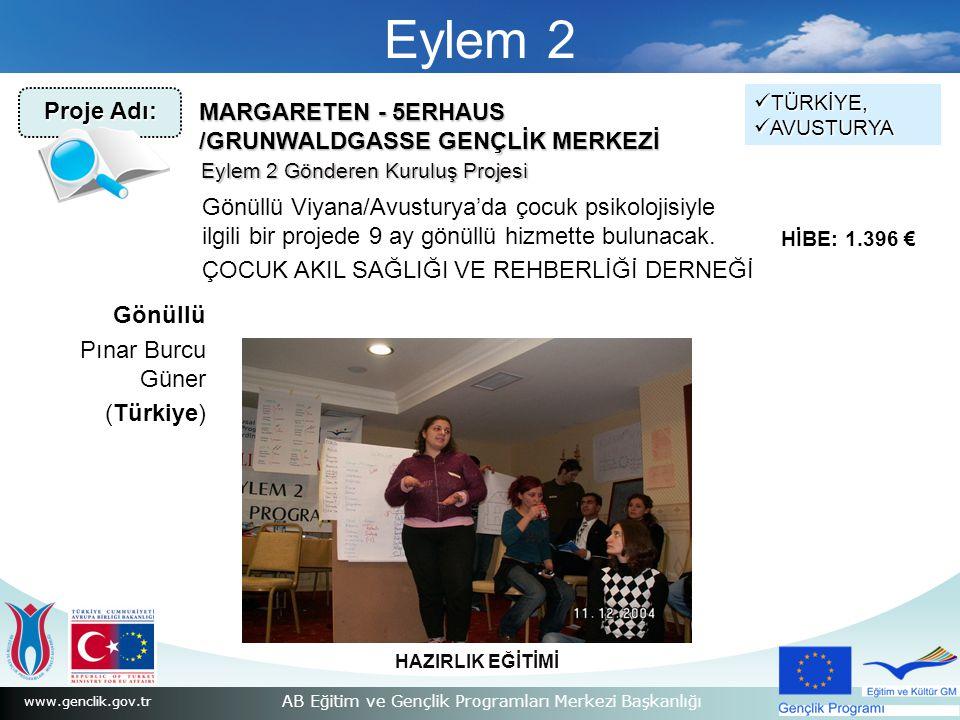 www.genclik.gov.tr AB Eğitim ve Gençlik Programları Merkezi Başkanlığı Eylem 2 MARGARETEN - 5ERHAUS /GRUNWALDGASSE GENÇLİK MERKEZİ Gönüllü Viyana/Avusturya'da çocuk psikolojisiyle ilgili bir projede 9 ay gönüllü hizmette bulunacak.