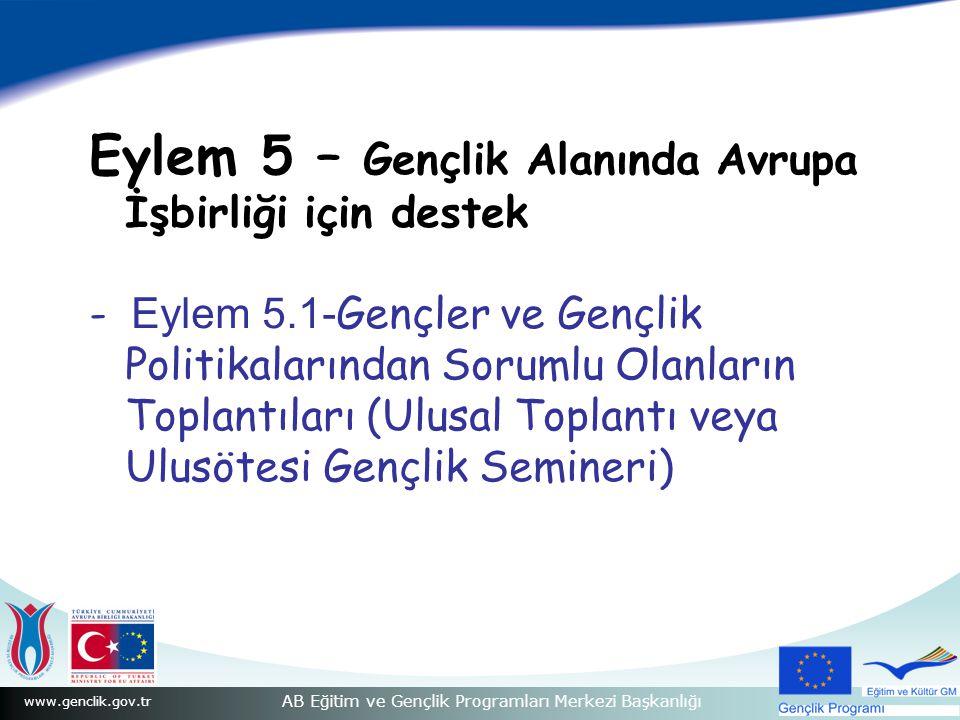 www.genclik.gov.tr AB Eğitim ve Gençlik Programları Merkezi Başkanlığı Eylem 5 – Gençlik Alanında Avrupa İşbirliği için destek - Eylem 5.1- Gençler ve Gençlik Politikalarından Sorumlu Olanların Toplantıları (Ulusal Toplantı veya Ulusötesi Gençlik Semineri)