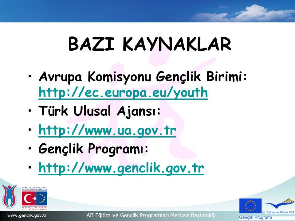 www.genclik.gov.tr AB Eğitim ve Gençlik Programları Merkezi Başkanlığı BAZI KAYNAKLAR Avrupa Komisyonu Gençlik Birimi: http://ec.europa.eu/youth http://ec.europa.eu/youth Türk Ulusal Ajansı: http://www.ua.gov.trhttp://www.ua.gov.tr Gençlik Programı: http://www.genclik.gov.trhttp://www.genclik.gov.tr