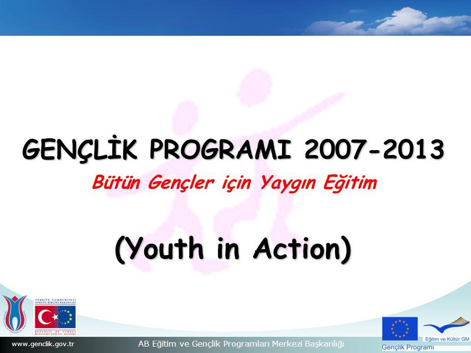 www.genclik.gov.tr AB Eğitim ve Gençlik Programları Merkezi Başkanlığı GENÇLİK PROGRAMI 2007-2013 GENÇLİK PROGRAMI 2007-2013 Bütün Gençler için Yaygın Eğitim (Youth in Action)
