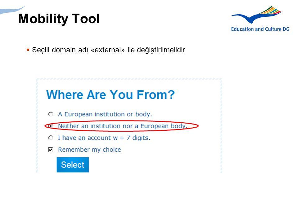 8 Mobility Tool  Sign up for ECAS a tıklanmalı