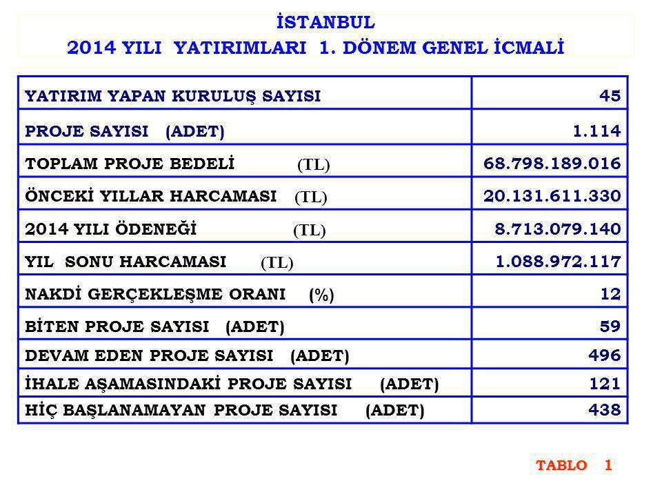 İSTANBUL 2014 YILI YATIRIMLARI 1.