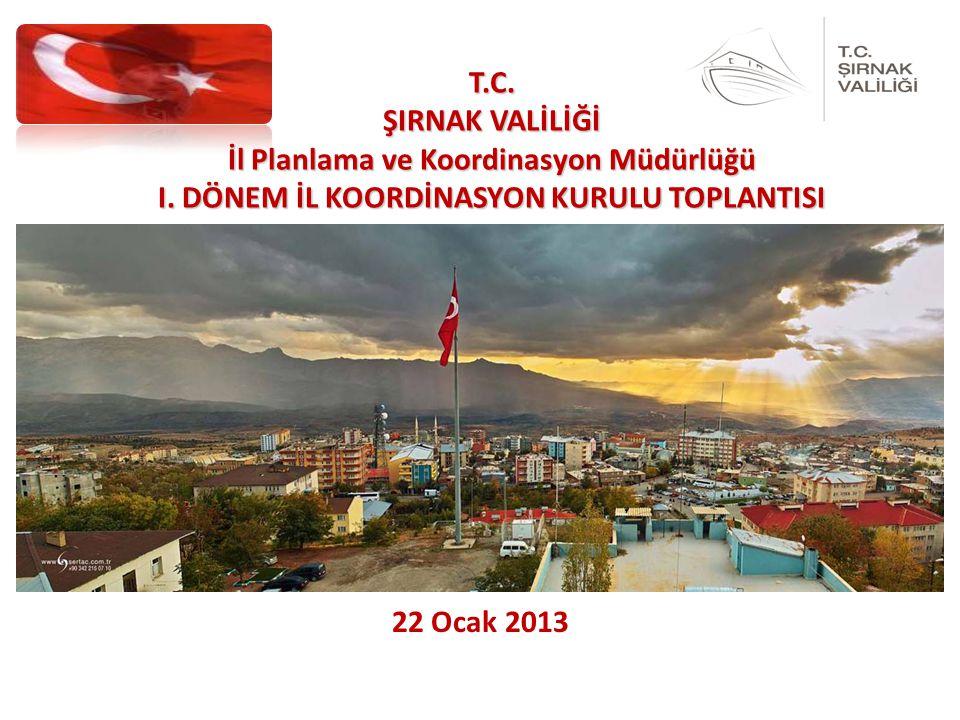 22 Ocak 2013 T.C. ŞIRNAK VALİLİĞİ İl Planlama ve Koordinasyon Müdürlüğü I.