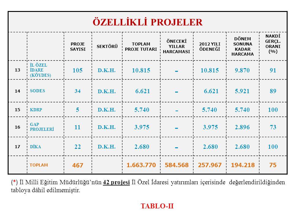 (*) İl Milli Eğitim Müdürlüğü'nün 42 projesi İl Özel İdaresi yatırımları içerisinde değerlendirildiğinden tabloya dâhil edilmemiştir.