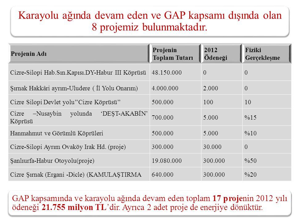 Karayolu ağında devam eden ve GAP kapsamı dışında olan 8 projemiz bulunmaktadır.