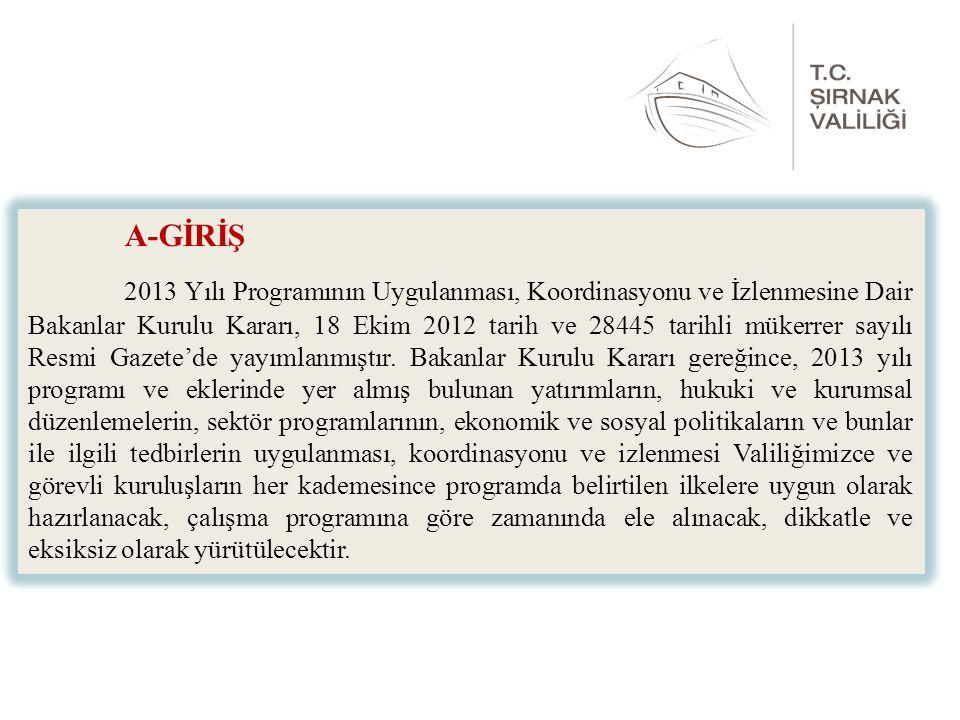 A-GİRİŞ 2013 Yılı Programının Uygulanması, Koordinasyonu ve İzlenmesine Dair Bakanlar Kurulu Kararı, 18 Ekim 2012 tarih ve 28445 tarihli mükerrer sayılı Resmi Gazete'de yayımlanmıştır.