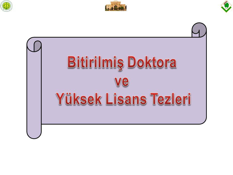 Doktora Tezi: İstanbul Metropolündeki Kent Ormanlarının Kullanım Kriterlerinin Belirlenmesi ve Planlama Esasları (Prof.