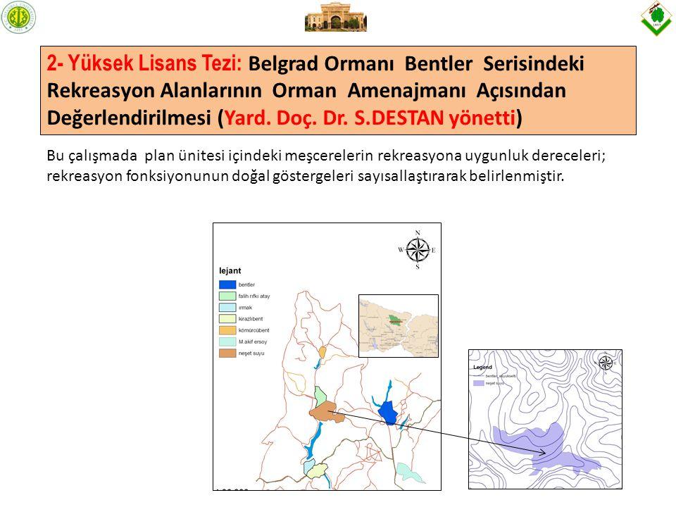 2- Yüksek Lisans Tezi: Belgrad Ormanı Bentler Serisindeki Rekreasyon Alanlarının Orman Amenajmanı Açısından Değerlendirilmesi (Yard.