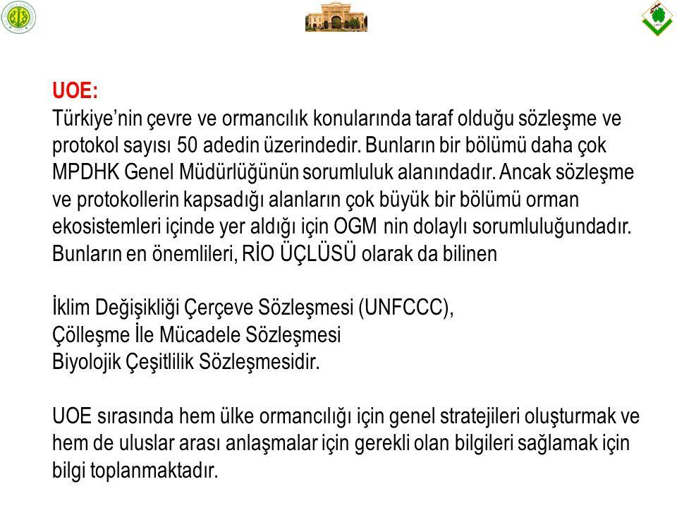 UOE: Türkiye'nin çevre ve ormancılık konularında taraf olduğu sözleşme ve protokol sayısı 50 adedin üzerindedir.