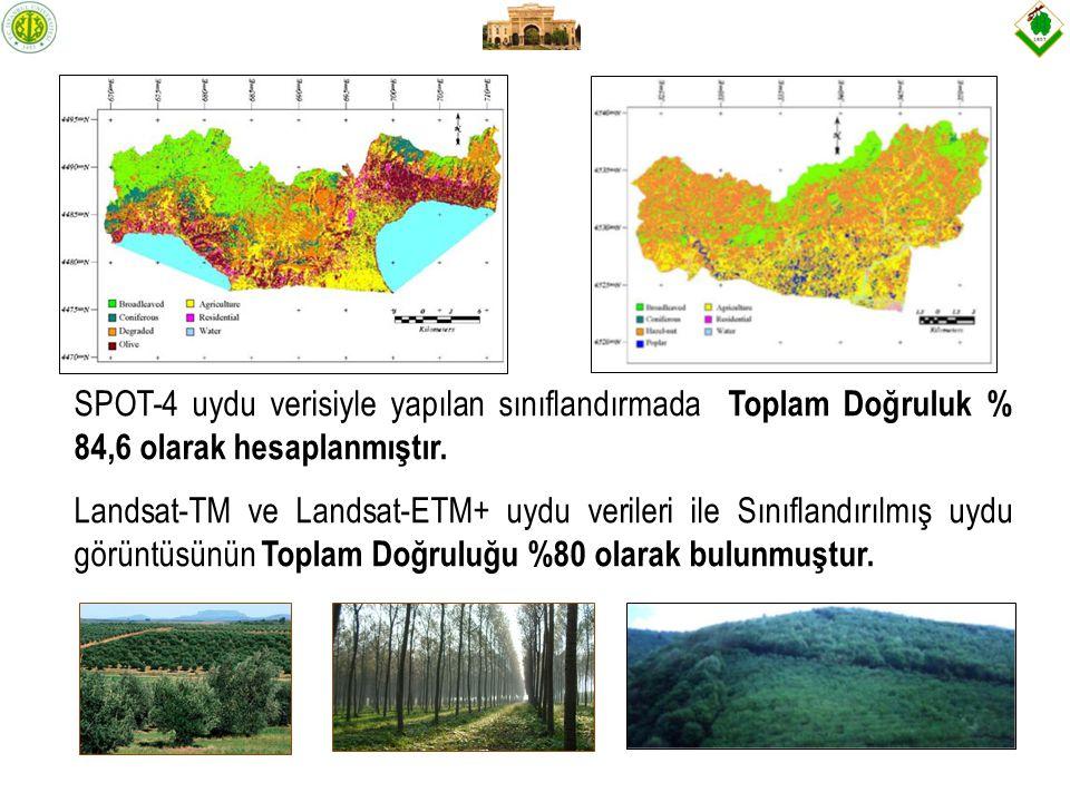 Yapılan çalışma sonucunda, SPOT-5 uydu verisiyle 1.amenajman planı düzenlemek amacıyla meşcere tipleri ayrımının yapılamayacağı, 2.yapılan stratifikasyonun ulusal veya bölgesel bazda yapılacak orman envanterinde kullanılabileceği 3.ulusal veya bölgesel orman envanterinde, tek ağaç türünden oluşmuş iğne yapraklı ormanlarda elektro-optik uydu verileriyle ağaç servetinin kestirilmesinin mümkün olduğu ortaya konulmuştur.