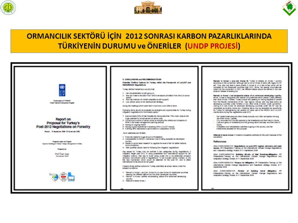 ORMANCILIK SEKTÖRÜ İÇİN 2012 SONRASI KARBON PAZARLIKLARINDA TÜRKİYENİN DURUMU ve ÖNERİLER (UNDP PROJESİ)
