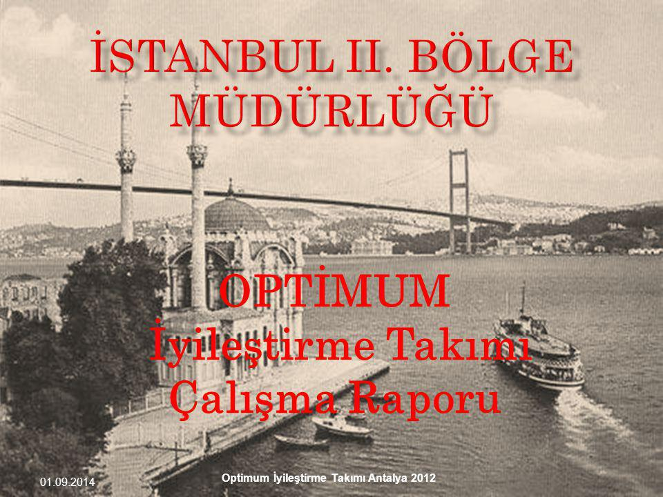 01.09.2014 Optimum İyileştirme Takımı Antalya 2012 OPTİMUM İyileştirme Takımı Çalışma Raporu