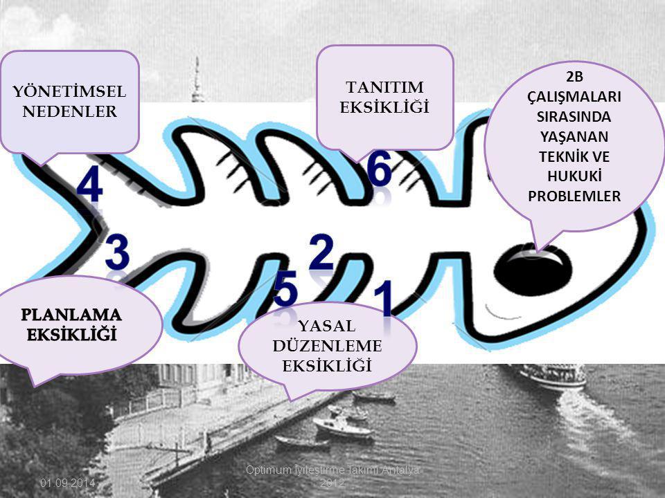 01.09.2014 Optimum İyileştirme Takımı Antalya 2012 2B ÇALIŞMALARI SIRASINDA YAŞANAN TEKNİK VE HUKUKİ PROBLEMLER YÖNETİMSEL NEDENLER TANITIM EKSİKLİĞİ YASAL DÜZENLEME EKSİKLİĞİ
