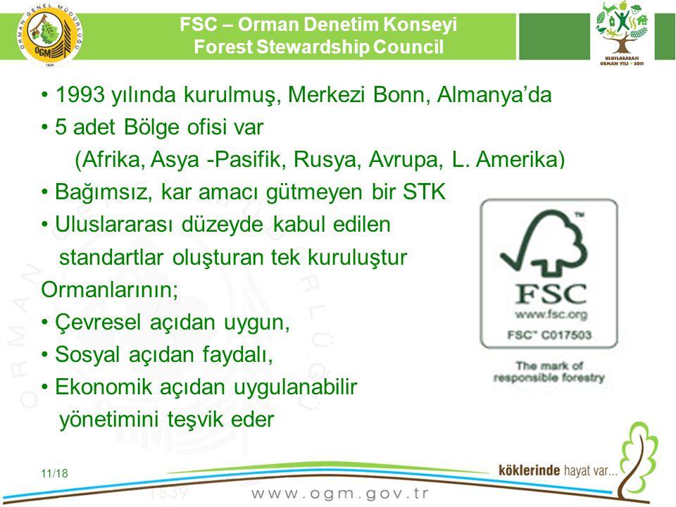 16/12/2010 Kurumsal Kimlik 11 FSC – Orman Denetim Konseyi Forest Stewardship Council 1993 yılında kurulmuş, Merkezi Bonn, Almanya'da 5 adet Bölge ofis