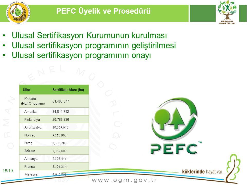 16/12/2010 Kurumsal Kimlik 16 PEFC Üyelik ve Prosedürü Ulusal Sertifikasyon Kurumunun kurulması Ulusal sertifikasyon programının geliştirilmesi Ulusal