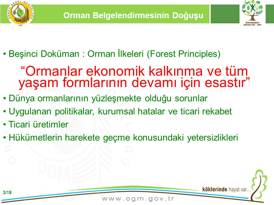 """16/12/2010 Kurumsal Kimlik 3 Beşinci Doküman : Orman İlkeleri (Forest Principles) """"Ormanlar ekonomik kalkınma ve tüm yaşam formlarının devamı için esa"""