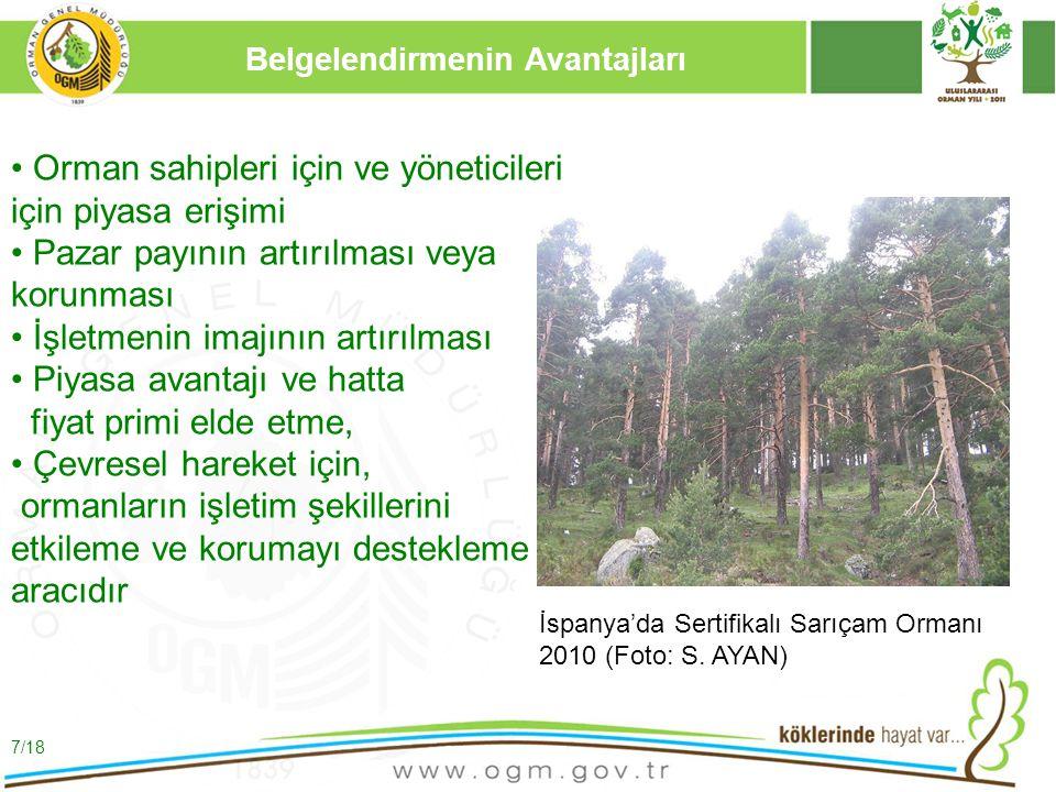16/12/2010 Kurumsal Kimlik 8 Orman Yönetiminin Sertifikasyonu Ürün Sertifikasyonu Korunan Orman Alanlarında Sertifikasyon 8/18 Ormanların ve Orman Ürünlerinin Belgelendirmesi İspanya-Segorbe'de Sertifikalı Mantar Meşesi Ormanı 2010 (S.