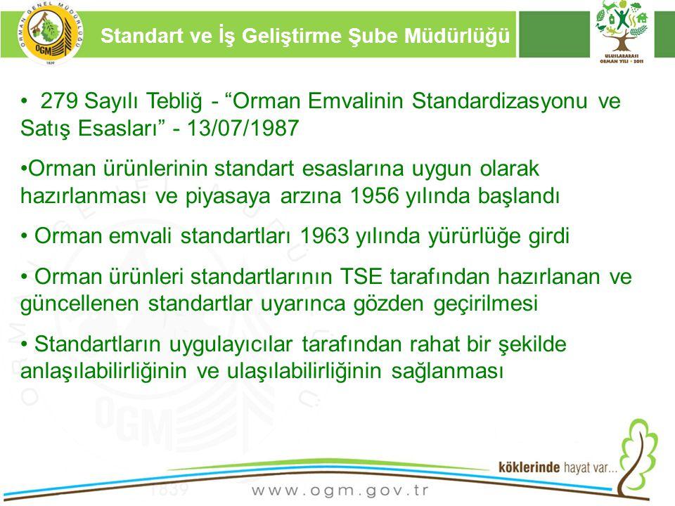 """16/12/2010 Kurumsal Kimlik 13 279 Sayılı Tebliğ - """"Orman Emvalinin Standardizasyonu ve Satış Esasları"""" - 13/07/1987 Orman ürünlerinin standart esaslar"""