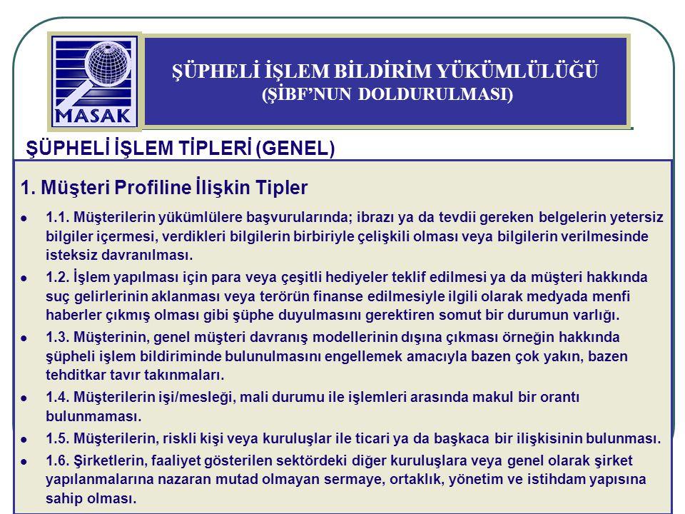 33 ŞÜPHELİ İŞLEM BİLDİRİM YÜKÜMLÜLÜĞÜ (ŞİBF'NUN DOLDURULMASI) ŞÜPHELİ İŞLEM TİPLERİ (GENEL) 1. Müşteri Profiline İlişkin Tipler 1.1. Müşterilerin yükü