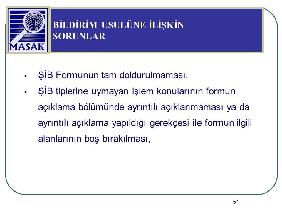 51  ŞİB Formunun tam doldurulmaması,  ŞİB tiplerine uymayan işlem konularının formun açıklama bölümünde ayrıntılı açıklanmaması ya da ayrıntılı açık