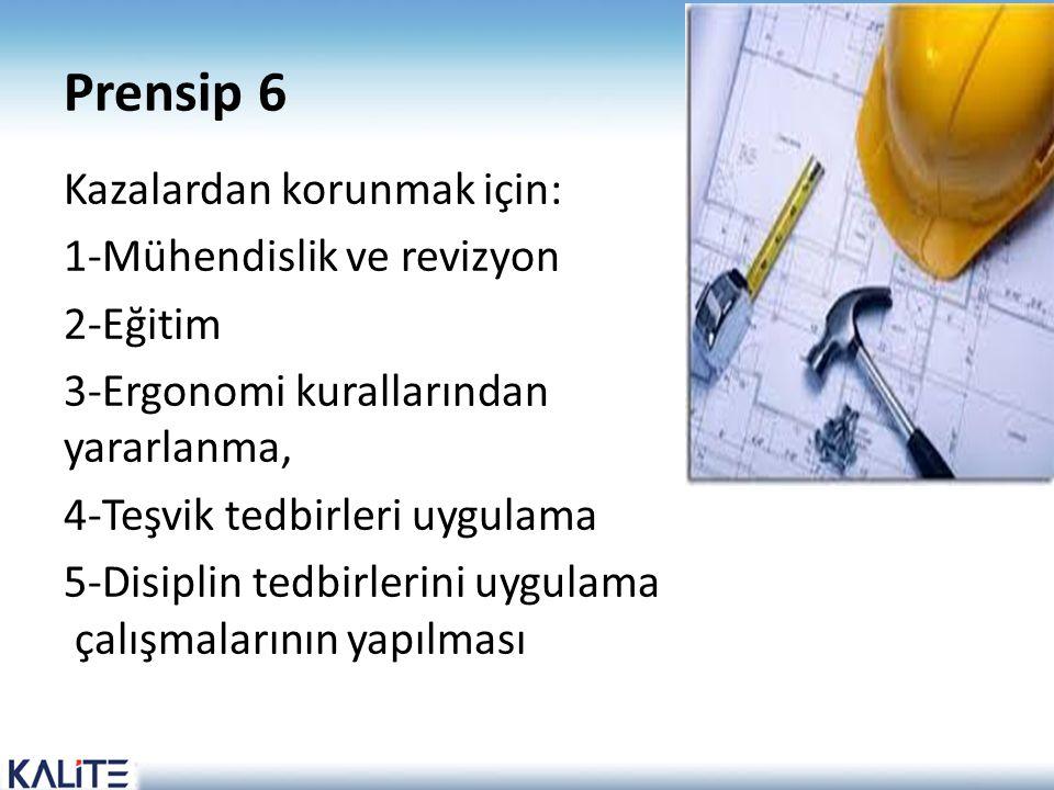 Prensip 6 Kazalardan korunmak için: 1-Mühendislik ve revizyon 2-Eğitim 3-Ergonomi kurallarından yararlanma, 4-Teşvik tedbirleri uygulama 5-Disiplin te