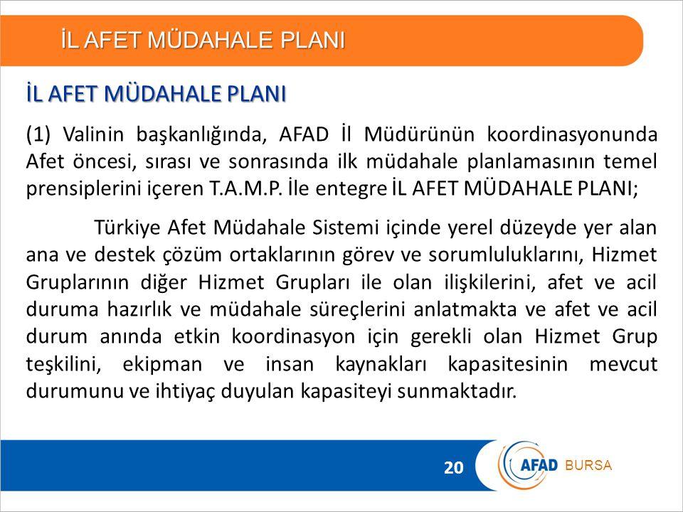 20 BURSA İL AFET MÜDAHALE PLANI (1) Valinin başkanlığında, AFAD İl Müdürünün koordinasyonunda Afet öncesi, sırası ve sonrasında ilk müdahale planlamas
