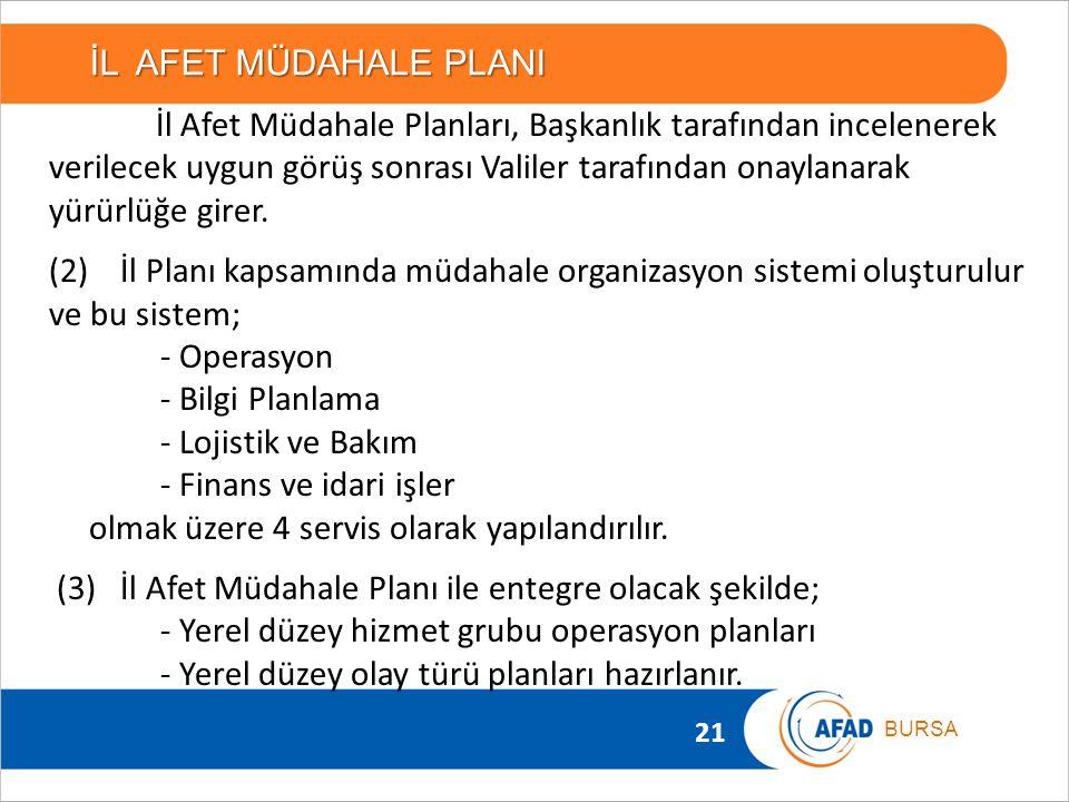 21 BURSA İL AFET MÜDAHALE PLANI İl Afet Müdahale Planları, Başkanlık tarafından incelenerek verilecek uygun görüş sonrası Valiler tarafından onaylanar