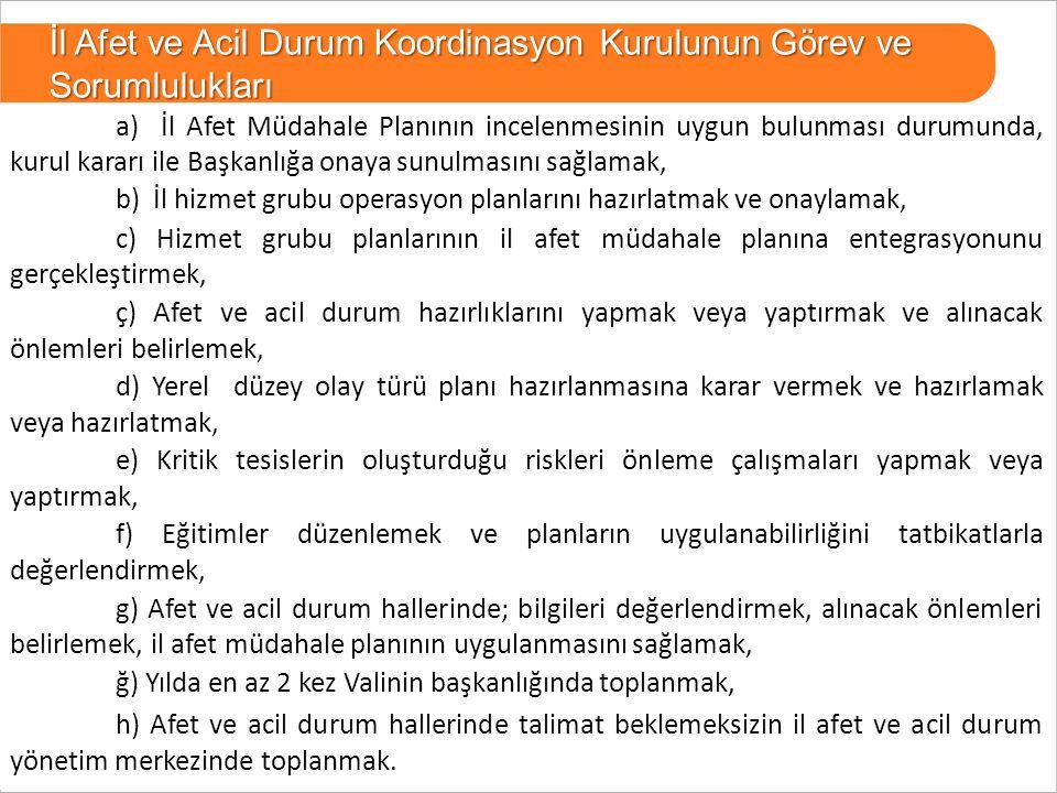 25 BURSA a) İl Afet Müdahale Planının incelenmesinin uygun bulunması durumunda, kurul kararı ile Başkanlığa onaya sunulmasını sağlamak, b) İl hizmet g