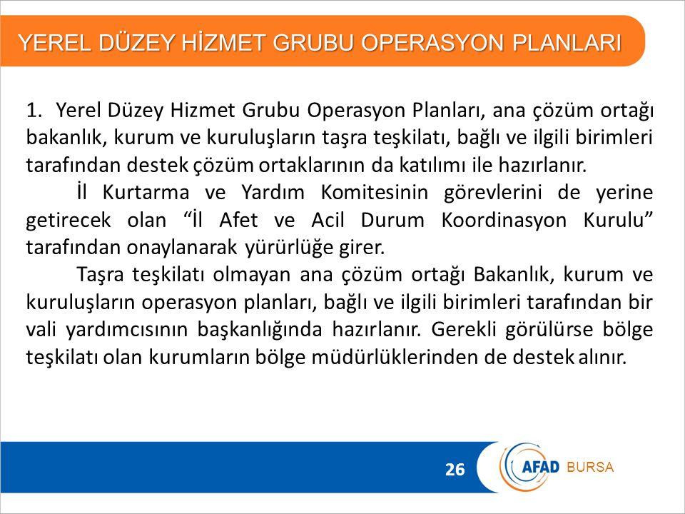 26 BURSA 1. Yerel Düzey Hizmet Grubu Operasyon Planları, ana çözüm ortağı bakanlık, kurum ve kuruluşların taşra teşkilatı, bağlı ve ilgili birimleri t