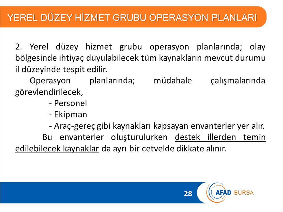 28 BURSA YEREL DÜZEY HİZMET GRUBU OPERASYON PLANLARI 2. Yerel düzey hizmet grubu operasyon planlarında; olay bölgesinde ihtiyaç duyulabilecek tüm kayn