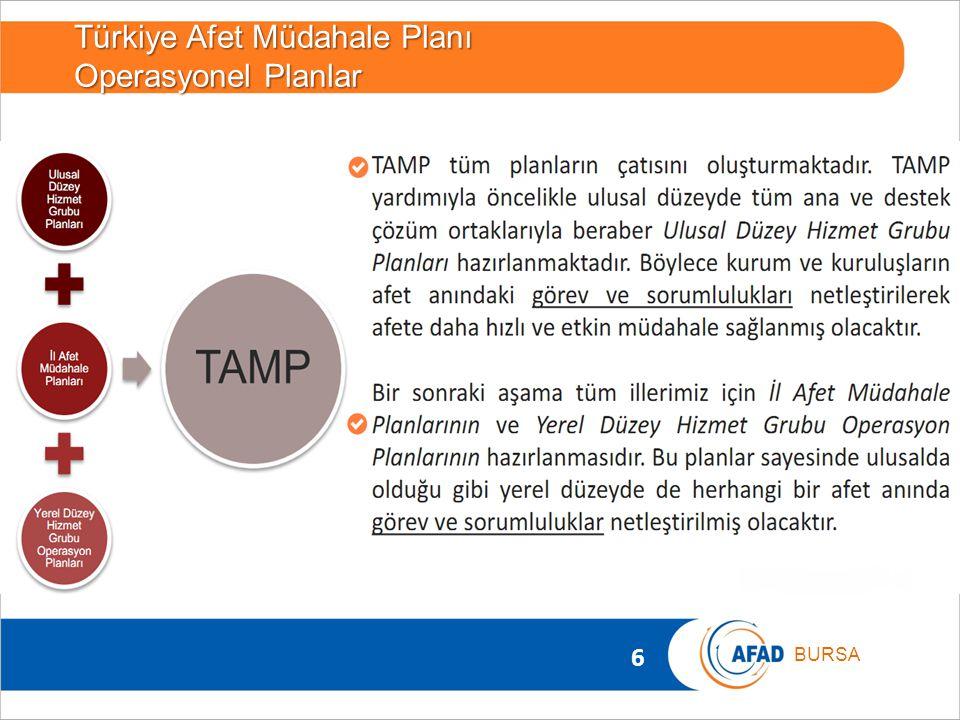 6 BURSA Türkiye Afet Müdahale Planı Operasyonel Planlar