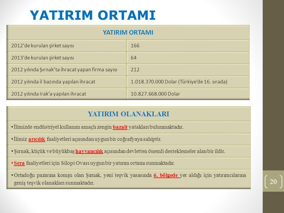 20 YATIRIM ORTAMI