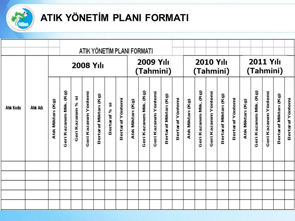2008 Yılı 2009 Yılı (Tahmini) 2010 Yılı (Tahmini) 2011 Yılı (Tahmini) ATIK YÖNETİM PLANI FORMATI
