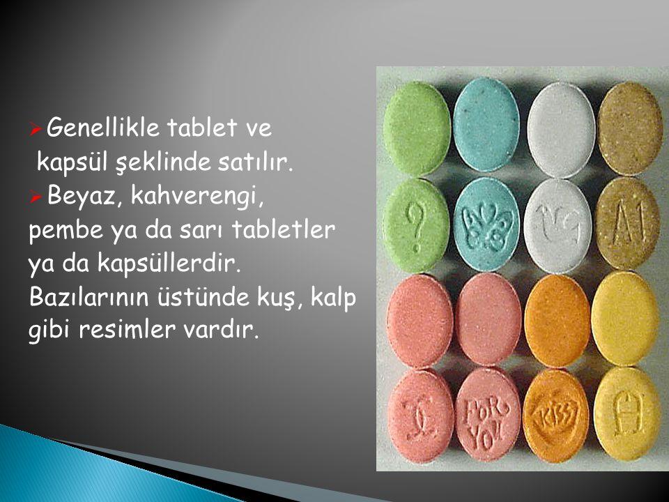  Genellikle tablet ve kapsül şeklinde satılır.  Beyaz, kahverengi, pembe ya da sarı tabletler ya da kapsüllerdir. Bazılarının üstünde kuş, kalp gibi